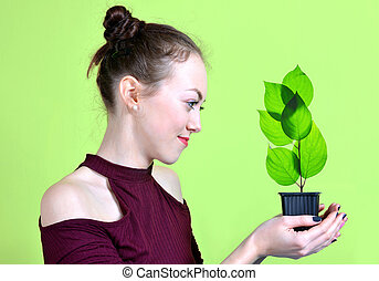 pot, possession main, petit, girl, plant.