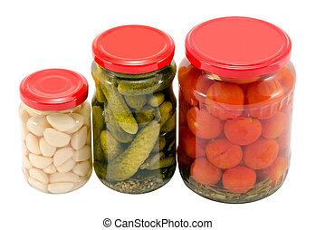 pot, pot, verre, concombre, conservé, ail, tomates