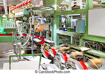 Pot production flow - Automatic factory line with red pots...