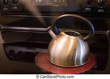 pot steaming - a pot warming water