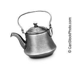 pot tè, metallo, sfondo bianco