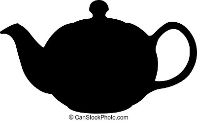 pot thé, silhouette, turc