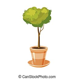 Pot tree icon, cartoon style