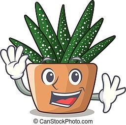 pot usine, caractère, onduler, zebra, petit, cactus