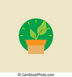 pot, vecteur, illustration, fleur, plante, croissant