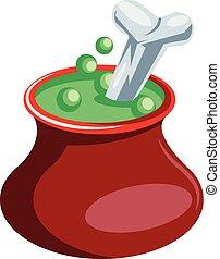 pot, vergiftigen, achtergrond., vector, groene, illustratie, zwevend, witte , been, rood