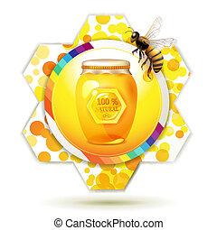 pot, verre, abeille