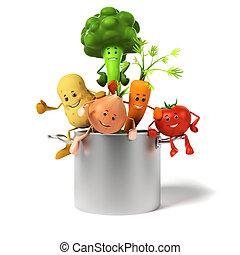 pot, volle, groentes