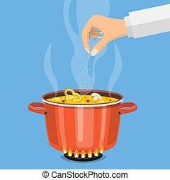 pot, vuur, soep, pan