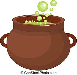 Pot with a potion icon flat style. Isolated on white background. Vector illustration.