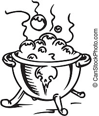 Pot with a potion - vector illustration