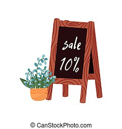Pot with beautiful flower and wooden announcement chalkboard with sale text. Blooming plant for home decor. Flat vector design