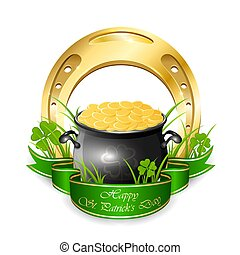 Pot with coins and golden horseshoe