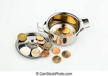 pot with coins - a pot with a few euro coins symbol photo...
