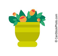 Pot with Flowers and Leaves Vector Illustration