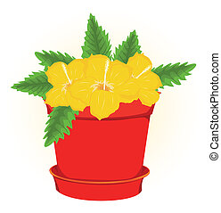Pot With Flowers illustration, Isolated On White Background