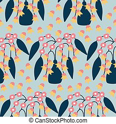 pot with flowers in a seamless pattern design