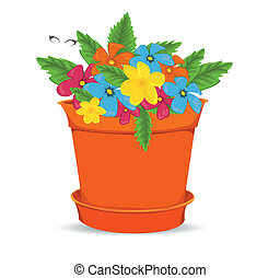 Pot With  Flowers, Isolated On White Background