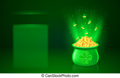 Pot with full of gold coins