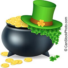 pot with gold coin for Patrick's day. vector illustration isolated on white background