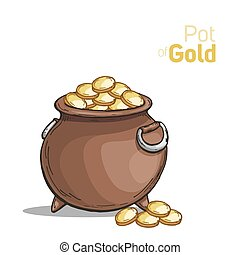 Pot with gold coin for St. Patrick's day.