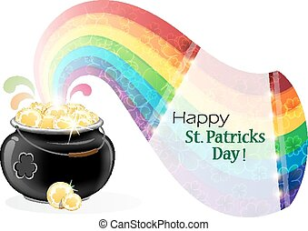 Pot with gold coins and rainbow