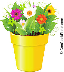 Pot With Grass And Flowers