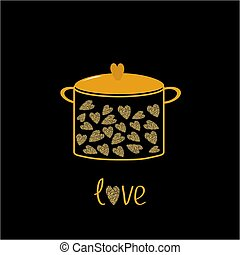 Pot with hearts. Love card.  Gold sparkles glitter texture Black background