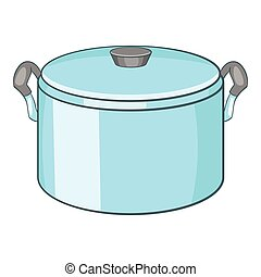 Pot with lid icon, cartoon style