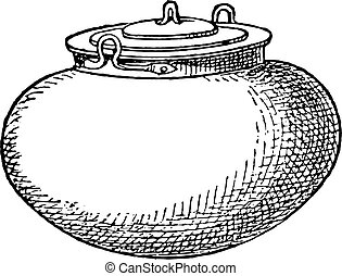 Pot with lid, vintage engraving.