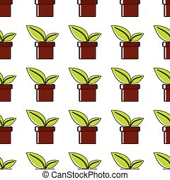 Pot with plant seamless pattern in cartoon style isolated on white background vector illustration