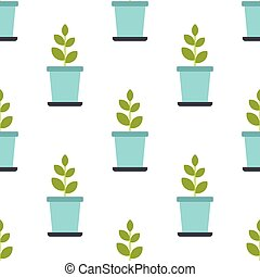 Pot with plant seamless pattern in flat style isolated on white background vector illustration