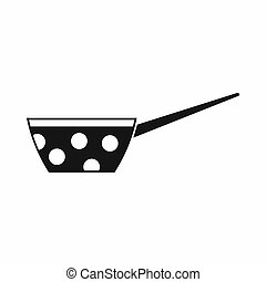 Pot with white dots and handle icon, simple style