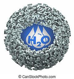 potabile, risorsa, domanda, h20, risposte, acqua, illustrazione, pulito, contrassegni, trovare, 3d