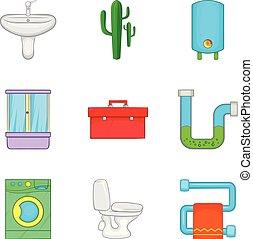 Potable water icons set, cartoon style - Potable water icons...