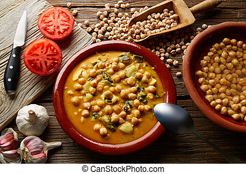 potaje, de, garbanzos, chickpea, 燉, 西班牙