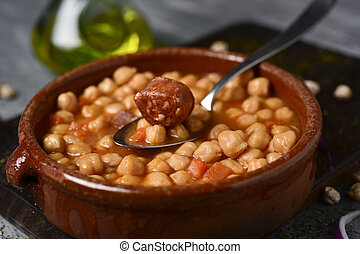 potaje de garbanzos, spanish chickpeas stew
