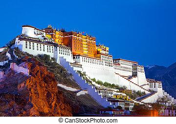 Potala Palace at dusk in Lhasa, Tibet