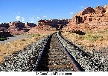 potash, ferrovia, através, arenito, desfiladeiro
