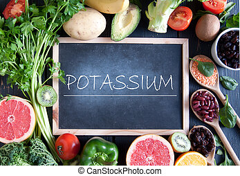 Potassium diet - Fresh fruits vegetables and pulses with...