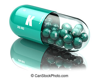 Potassium K element pill. Dietary supplements. Vitamin capsules.