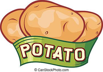 potatis, design, etikett
