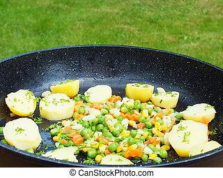 potatisarna, grönsaken, panorera, färgrik, frisk