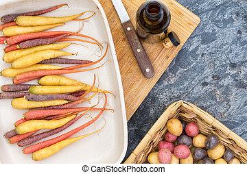 potatisarna, klippande, moroten, bord, färgrik