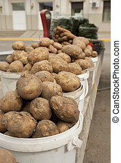 Potato and carrot on local market