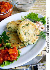 Potato and greens cakes with two sauces - New potato and ...