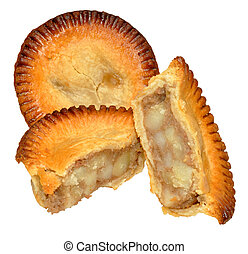 Potato And Meat Filled Pies - Two crusty potato and meat...