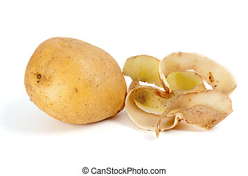 Potato and some peel isolated on the white background