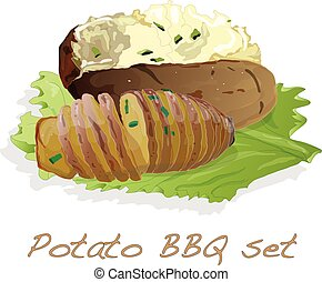 Potato BBQ illustration isolated.
