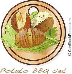 Potato BBQ vector illustration set isolated white background.